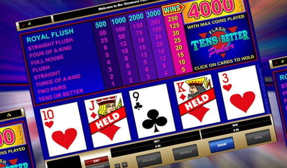 Der Ablauf des Video Poker Spiels Tens or Better.