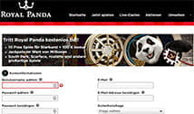 Anmeldebox beim Royal Panda Online Casino