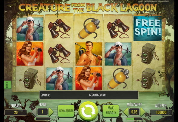Das Logo des Slot Creature from the Black Lagoon von NetEnt