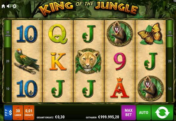 Spielen Sie King of the Jungle kostenlos im Demo Mode von Gamomat