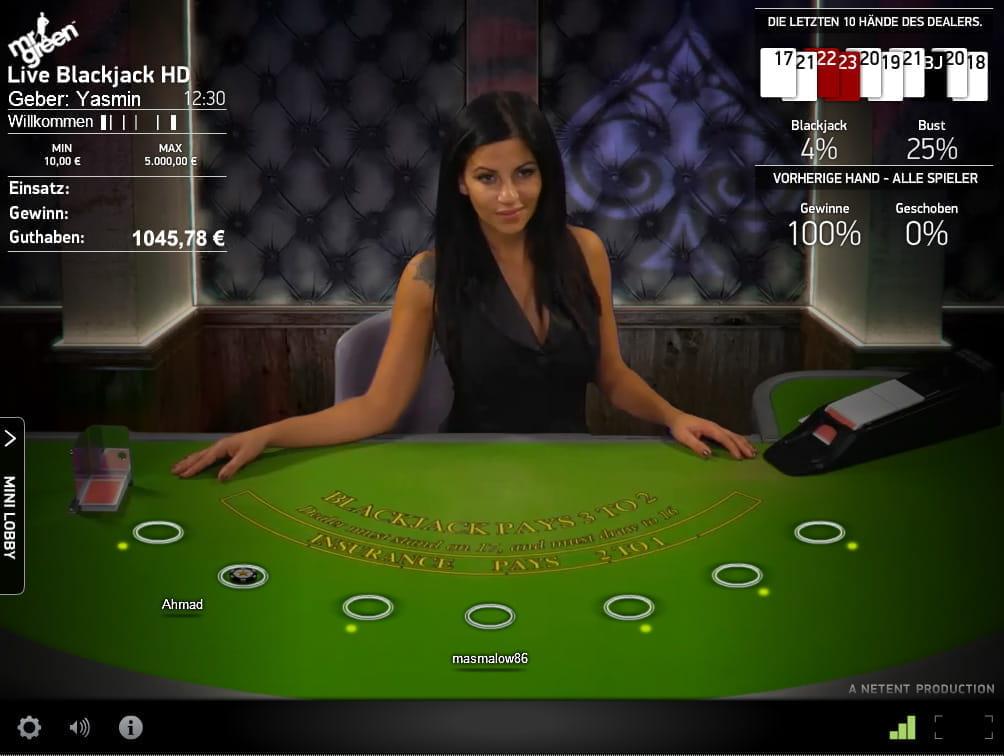 Live Casino Blackjack - NetEnt - Rizk Online Casino Deutschland