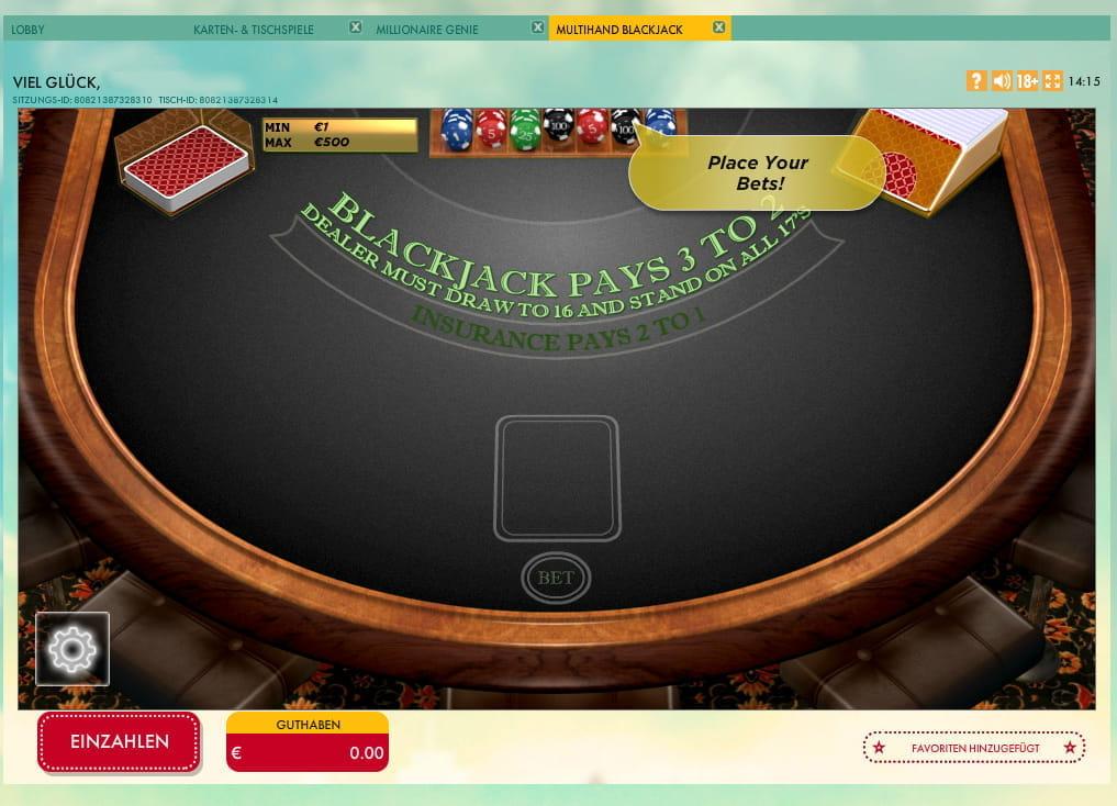 BlackJack Multi Hand - Rizk Mobile Casino Deutschland