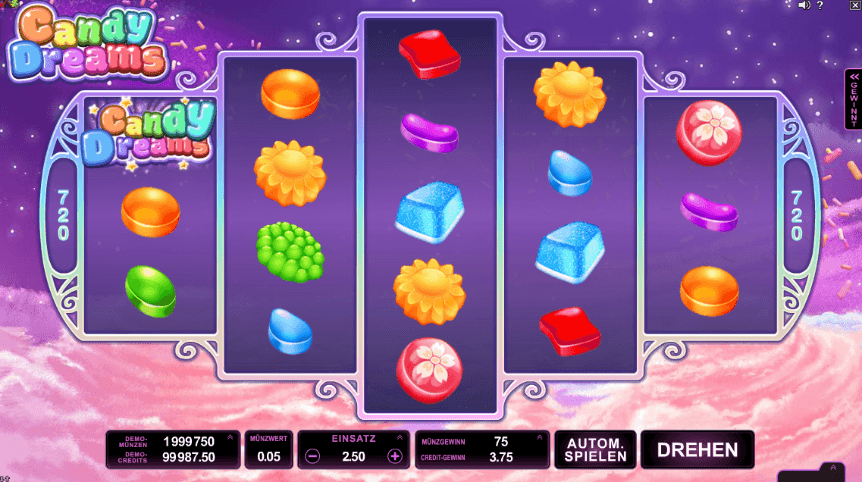 Candy Dreams von Microgaming mit bunten Bonbons