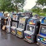 Spielautomaten vor ihrer Zerstörung