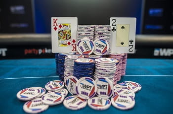 Chips on a poker table.