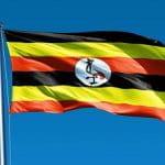Die Flagge Ugandas weht im Wind