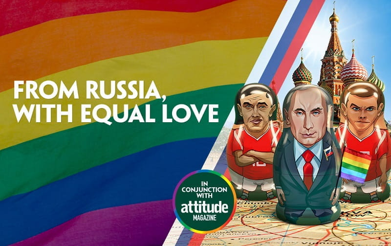 "Das bunte Plakat der Kampagne ""From Russia with Equal Love"" der Attitude Foundation"