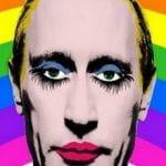 Eine Travestie-Montage des russischen Präsidenten Vladimir Putin