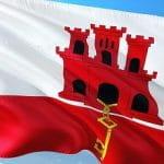 Flagge von Gibraltar im Wind