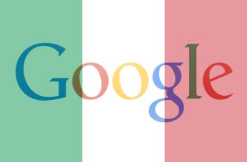 Das Logo von Google im Schleier einer italienischen Flagge