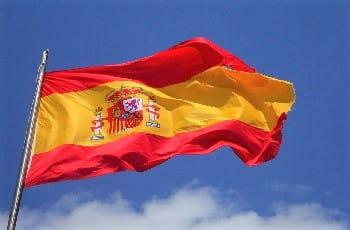 Eine spanische Flagge im Wind