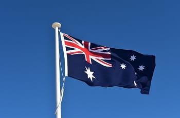 Die australische Nationalflagge im Wind