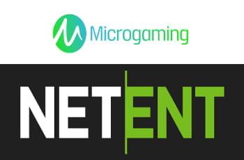 Die Logos der Spielehersteller Microgaming und NetEnt