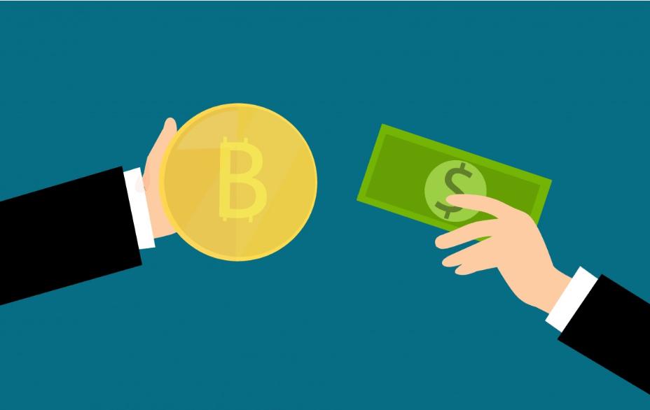 In dem Piktogram reicht eine Hand einen Geldschein, während die andere eine Münze zum Tausch anbietet.