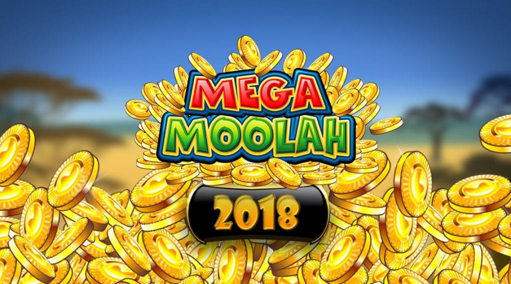 Das Logo des Online Spielautomaten Mega Moolah von Microgaming vor dem Hintergrund goldener Jetons, die die Rekord Jackpot Ausschüttung im Jahr 2018 versinnbildlichen.