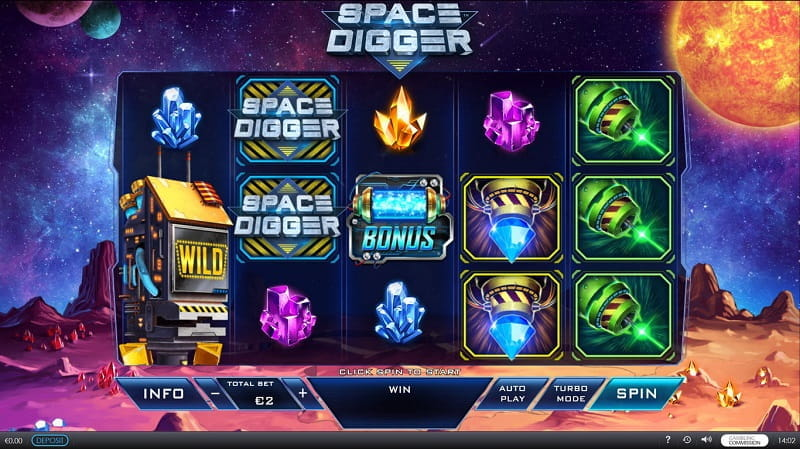 Der neue Playtech-Slot Space Digger.