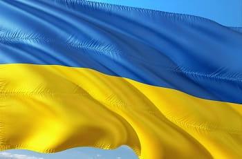 Das Flagge der Ukraine.