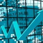 Digitale Grafik mit Pfeil, der Aufschwung anzeigt; im Hintergrund Zahlenwerte.