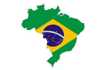 in Länderumriss zeigt die brasilianische Flagge.