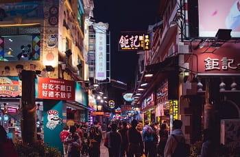 Eine Touristenmeile in der Region Macau.