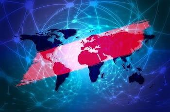 Eine blau-rote Weltkarte.