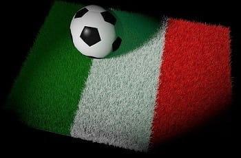 Ein Fußballteppich in italienischen Farben.