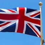 Eine britische Flagge im Wind.