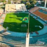 Ein leeres Fußballstadion in Sao Paulo, Brasilien.