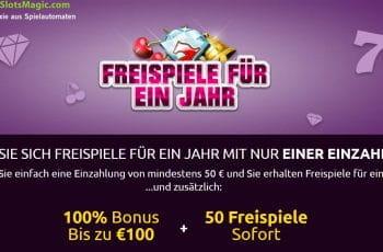 1 Jahr Freispiéle + 100€ Bonus und Sofort Spins