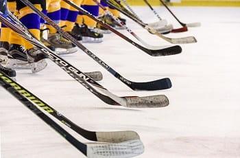 Ein Eishockeyteam präsentiert seine Schläger.