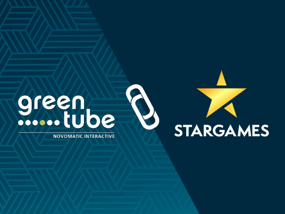 Die Logos von StarGames und Greentube verbunden mit einer Büroklammer.