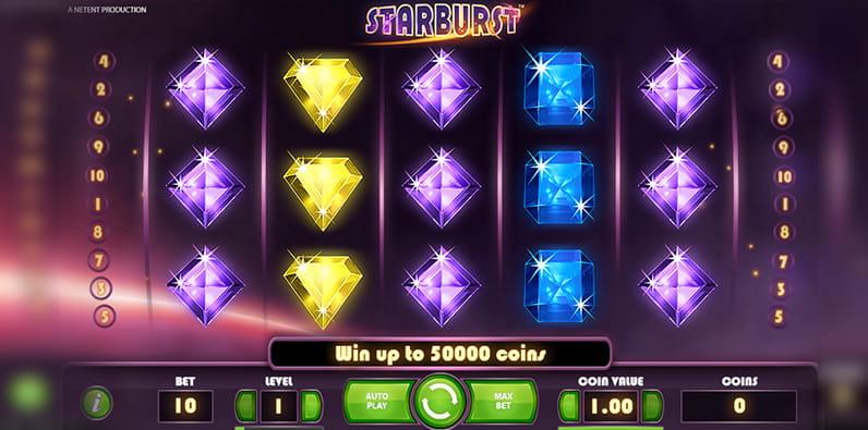 Starburst ist ein sehr beliebter Android Spielautomat.