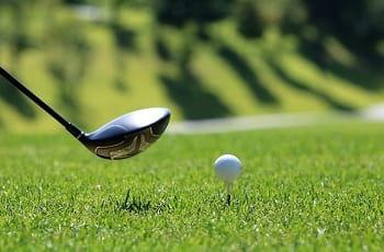 Ein Golfschläger und ein Golfball auf dem Spielfeld.