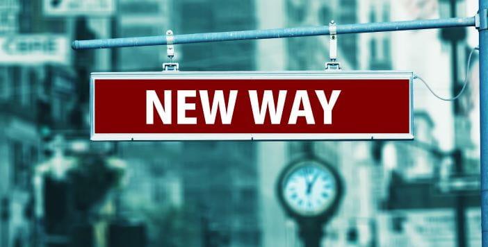 Schild mit dem Schriftzug New Way.