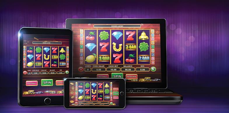 Mobilgeräte, die Internet Spielautomaten abbilden.