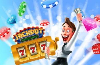 Eine animierte Figur hält Geldscheine in der Hand und im Hintergrund sind Casino-Symbole wie Spielchips und ein einarmiger Bandit.